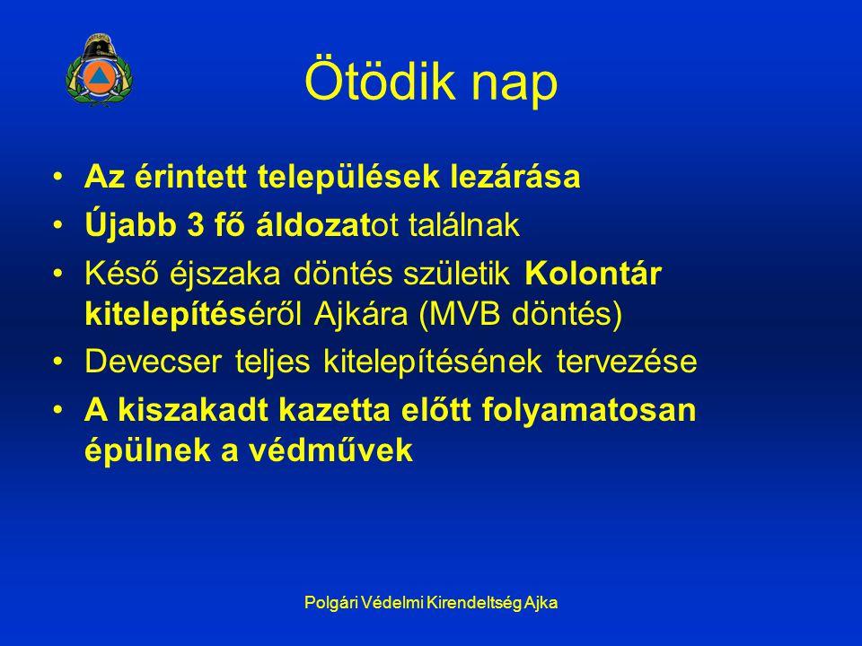 Ötödik nap Az érintett települések lezárása Újabb 3 fő áldozatot találnak Késő éjszaka döntés születik Kolontár kitelepítéséről Ajkára (MVB döntés) De