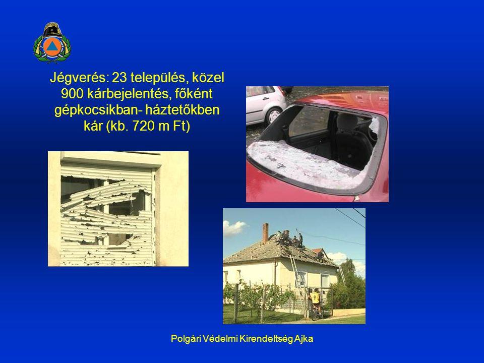 Polgári Védelmi Kirendeltség Ajka Jégverés: 23 település, közel 900 kárbejelentés, főként gépkocsikban- háztetőkben kár (kb. 720 m Ft)