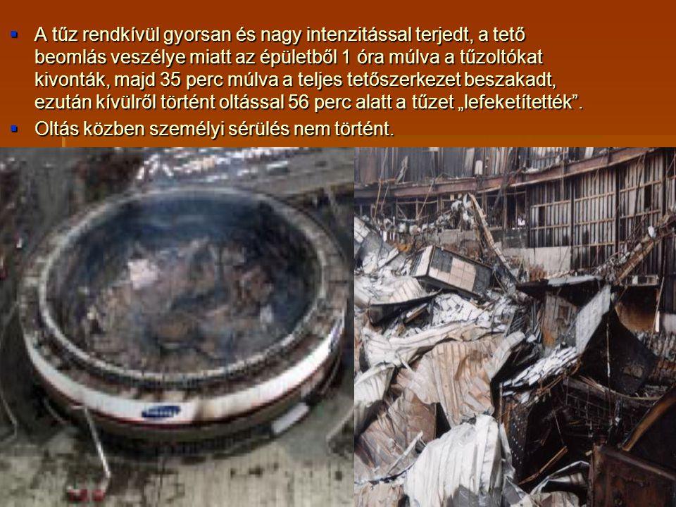  A tűz rendkívül gyorsan és nagy intenzitással terjedt, a tető beomlás veszélye miatt az épületből 1 óra múlva a tűzoltókat kivonták, majd 35 perc mú