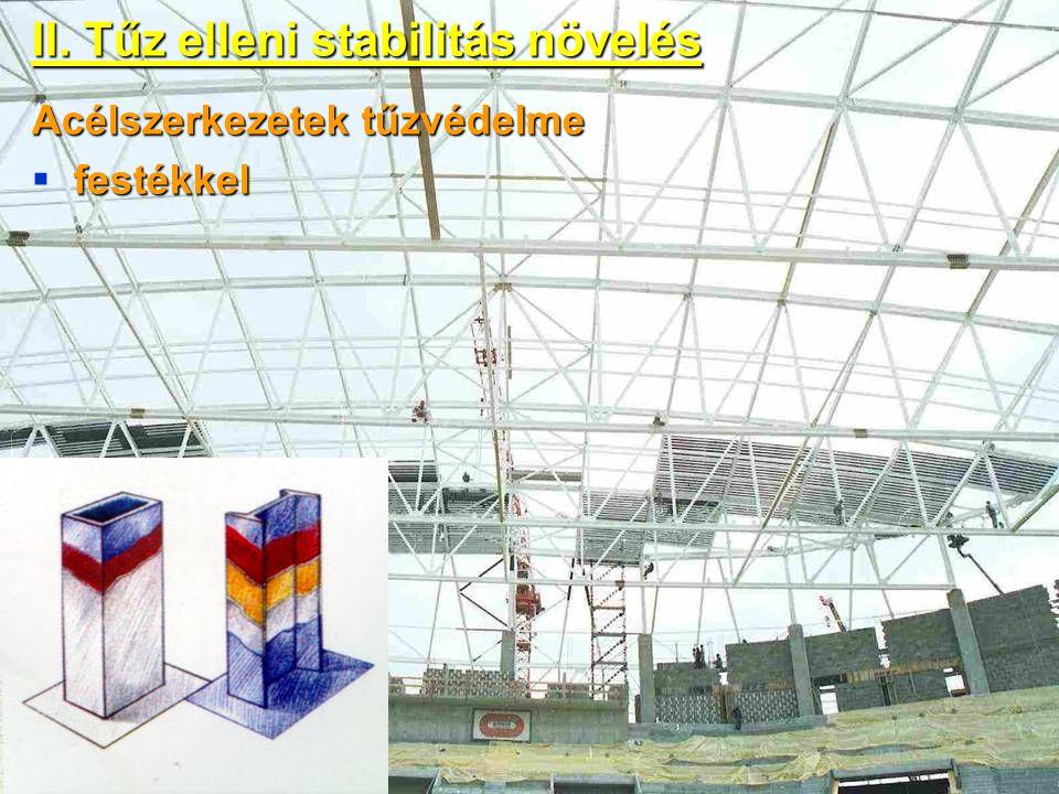 II. Tűz elleni stabilitás növelés Acélszerkezetek tűzvédelme festékkel  festékkel