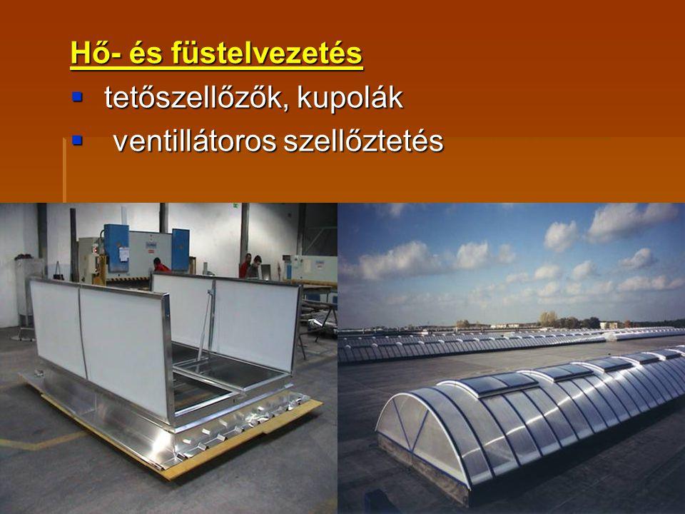 Hő- és füstelvezetés  tetőszellőzők, kupolák  ventillátoros szellőztetés