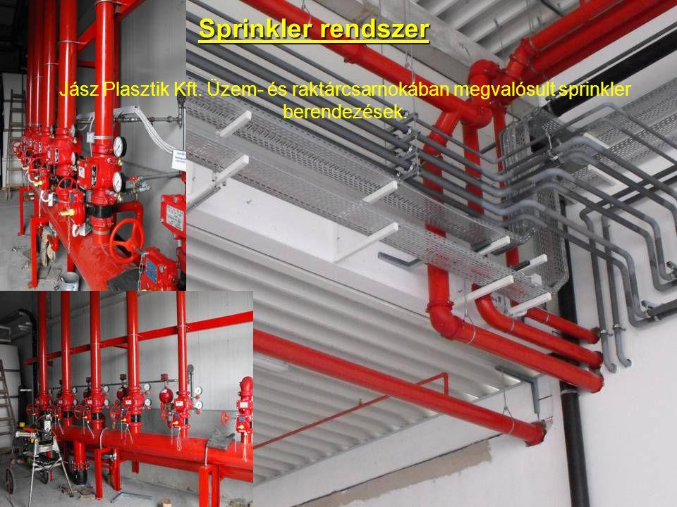 Jász Plasztik Kft. Üzem- és raktárcsarnokában megvalósult sprinkler berendezések. Sprinkler rendszer