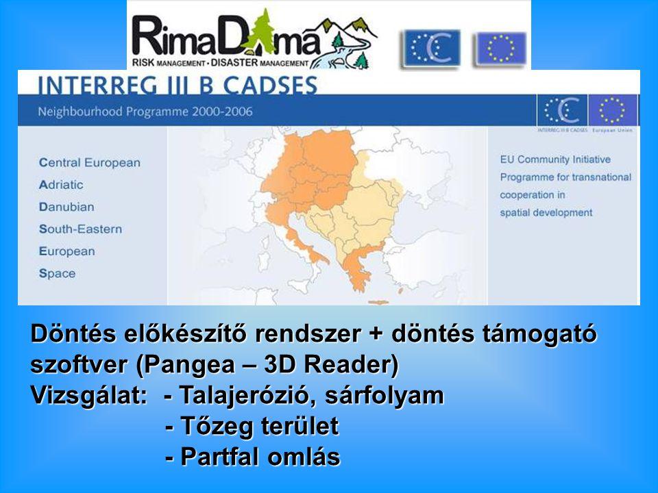 Döntés előkészítő rendszer + döntés támogató szoftver (Pangea – 3D Reader) Vizsgálat: - Talajerózió, sárfolyam - Tőzeg terület - Tőzeg terület - Partfal omlás - Partfal omlás
