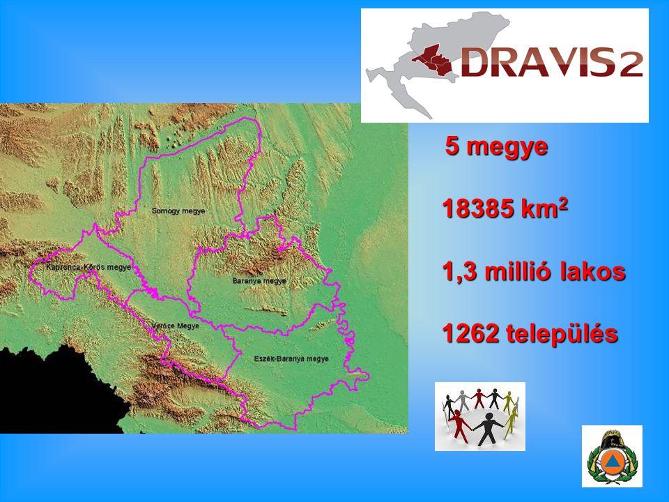 5 megye 5 megye 18385 km 2 18385 km 2 1,3 millió lakos 1,3 millió lakos 1262 település 1262 település
