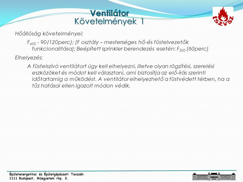 Ventilátor Követelmények 1 Épületenergetikai és Épületgépészeti Tanszék 1111 Budapest, Műegyetem rkp. 3. Hőállóság követelményei: F 400 - 90/120perc);