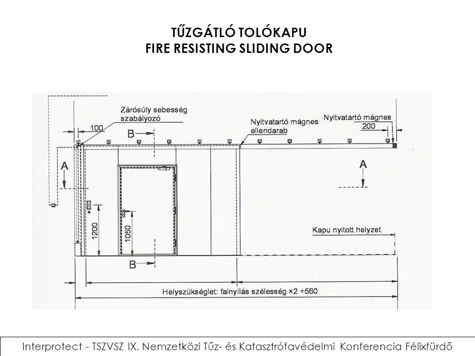TŰZGÁTLÓ TOLÓKAPU FIRE RESISTING SLIDING DOOR Interprotect - TSZVSZ IX. Nemzetközi Tűz- és Katasztrófavédelmi Konferencia Félixfürdő