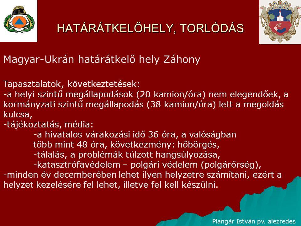 HATÁRÁTKELŐHELY, TORLÓDÁS Plangár István pv. alezredes Magyar-Ukrán határátkelő hely Záhony Tapasztalatok, következtetések: -a helyi szintű megállapod