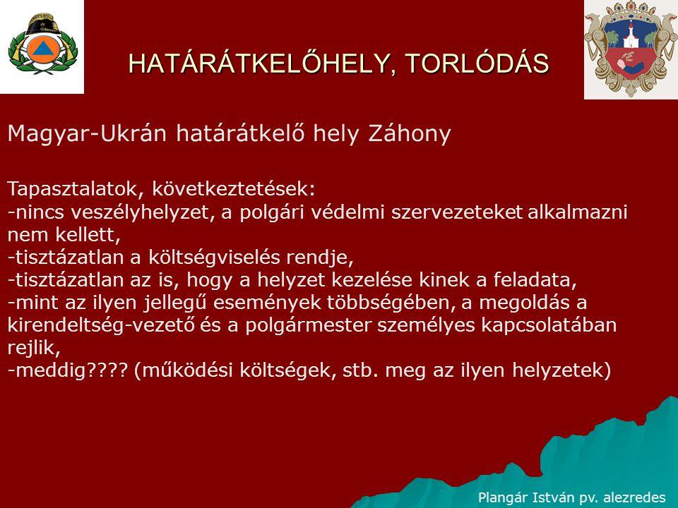 HATÁRÁTKELŐHELY, TORLÓDÁS Plangár István pv. alezredes Magyar-Ukrán határátkelő hely Záhony Tapasztalatok, következtetések: -nincs veszélyhelyzet, a p