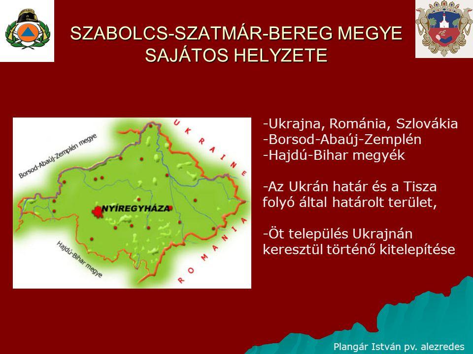 SZABOLCS-SZATMÁR-BEREG MEGYE SAJÁTOS HELYZETE -Ukrajna, Románia, Szlovákia -Borsod-Abaúj-Zemplén -Hajdú-Bihar megyék -Az Ukrán határ és a Tisza folyó által határolt terület, -Öt település Ukrajnán keresztül történő kitelepítése Plangár István pv.