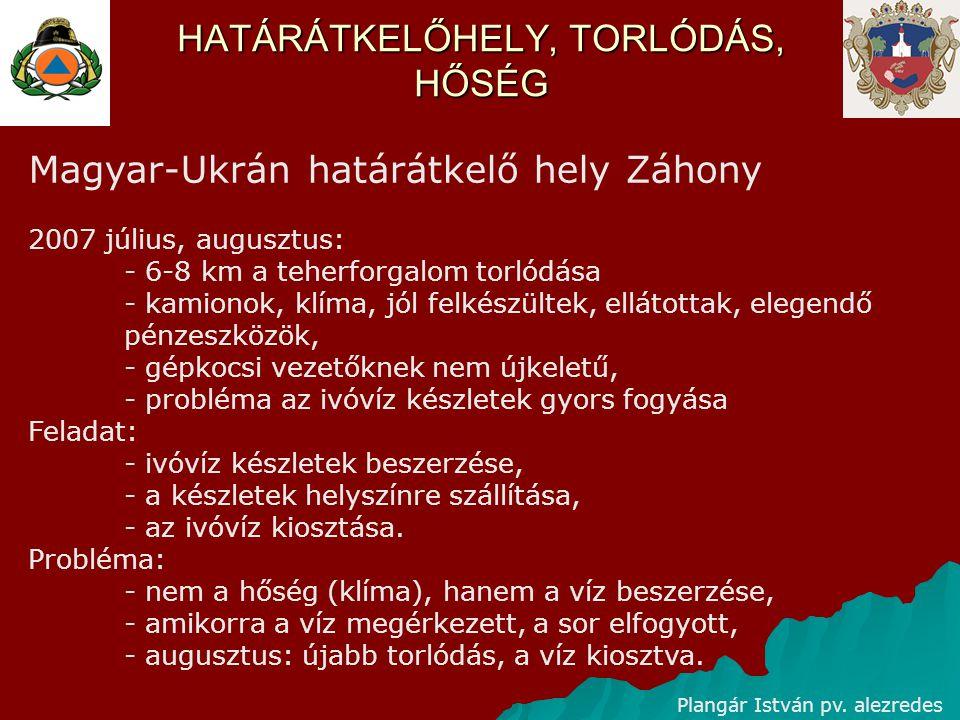 HATÁRÁTKELŐHELY, TORLÓDÁS Plangár István pv. alezredes