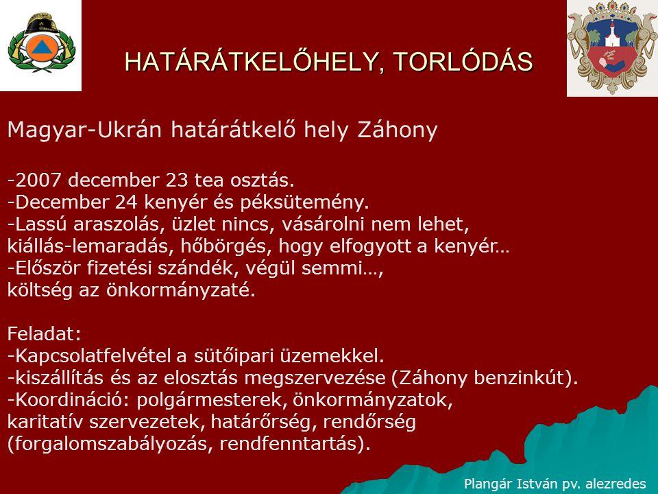 HATÁRÁTKELŐHELY, TORLÓDÁS Plangár István pv. alezredes Magyar-Ukrán határátkelő hely Záhony -2007 december 23 tea osztás. -December 24 kenyér és péksü
