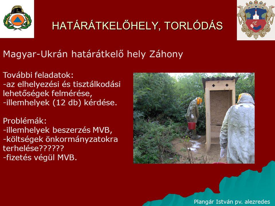 HATÁRÁTKELŐHELY, TORLÓDÁS Plangár István pv. alezredes Magyar-Ukrán határátkelő hely Záhony További feladatok: -az elhelyezési és tisztálkodási lehető