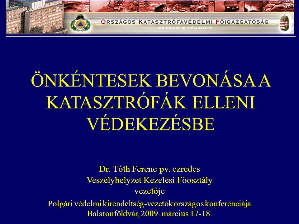Dr. Tóth Ferenc pv. ezredes Veszélyhelyzet Kezelési Főosztály vezetője Polgári védelmi kirendeltség-vezetők országos konferenciája Balatonföldvár, 200