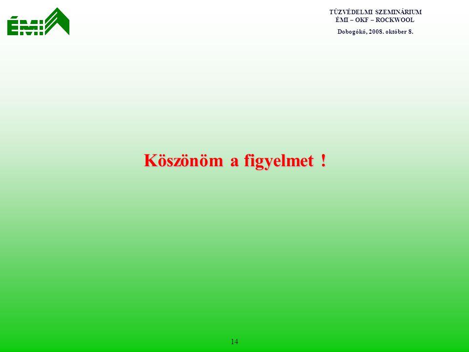 TŰZVÉDELMI SZEMINÁRIUM ÉMI – OKF – ROCKWOOL Dobogókő, 2008. október 8. 14 Köszönöm a figyelmet !