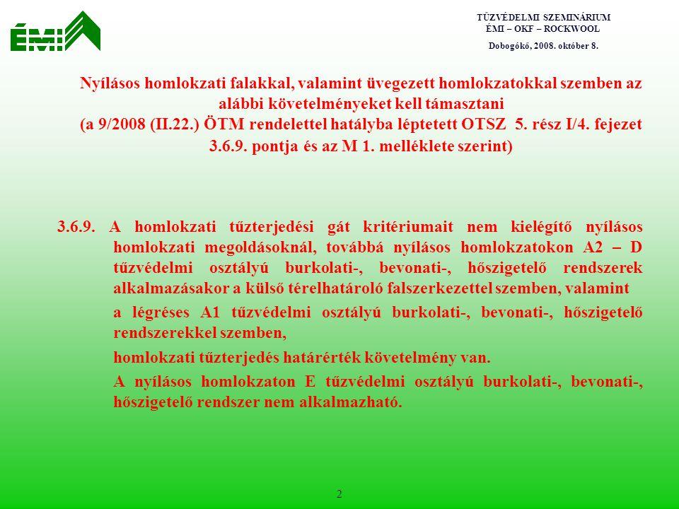 TŰZVÉDELMI SZEMINÁRIUM ÉMI – OKF – ROCKWOOL Dobogókő, 2008. október 8. 2 Nyílásos homlokzati falakkal, valamint üvegezett homlokzatokkal szemben az al