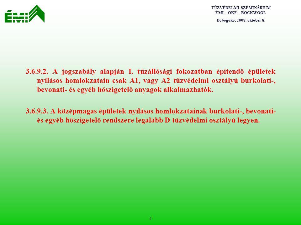 TŰZVÉDELMI SZEMINÁRIUM ÉMI – OKF – ROCKWOOL Dobogókő, 2008. október 8. 4 3.6.9.2. A jogszabály alapján I. tűzállósági fokozatban építendő épületek nyí