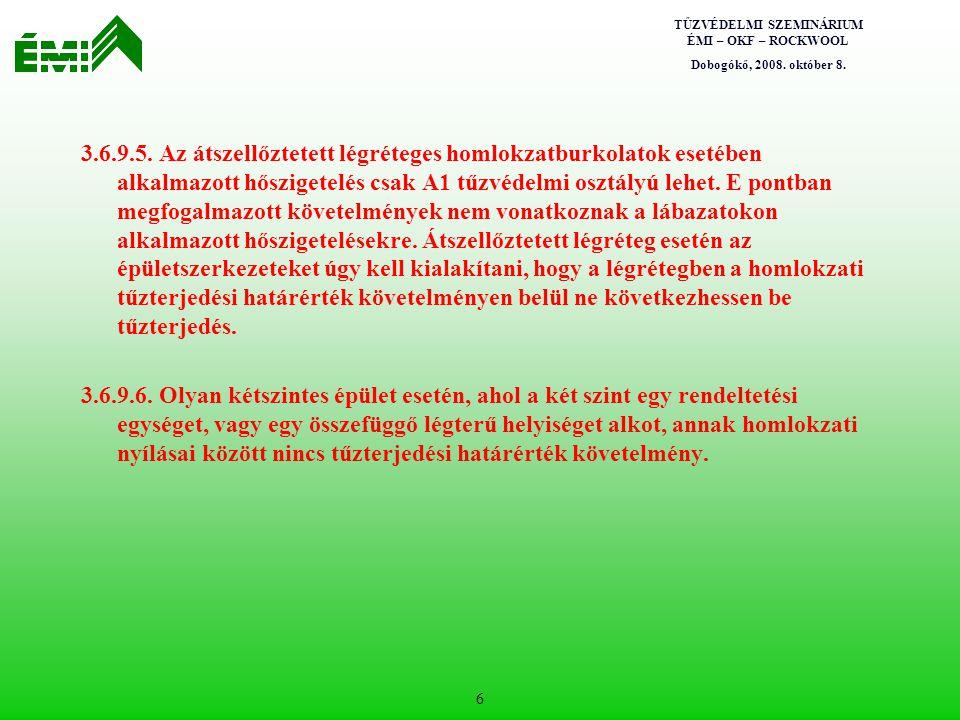 TŰZVÉDELMI SZEMINÁRIUM ÉMI – OKF – ROCKWOOL Dobogókő, 2008. október 8. 6 3.6.9.5. Az átszellőztetett légréteges homlokzatburkolatok esetében alkalmazo