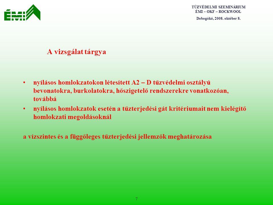 TŰZVÉDELMI SZEMINÁRIUM ÉMI – OKF – ROCKWOOL Dobogókő, 2008. október 8. 7 A vizsgálat tárgya nyílásos homlokzatokon létesített A2 – D tűzvédelmi osztál