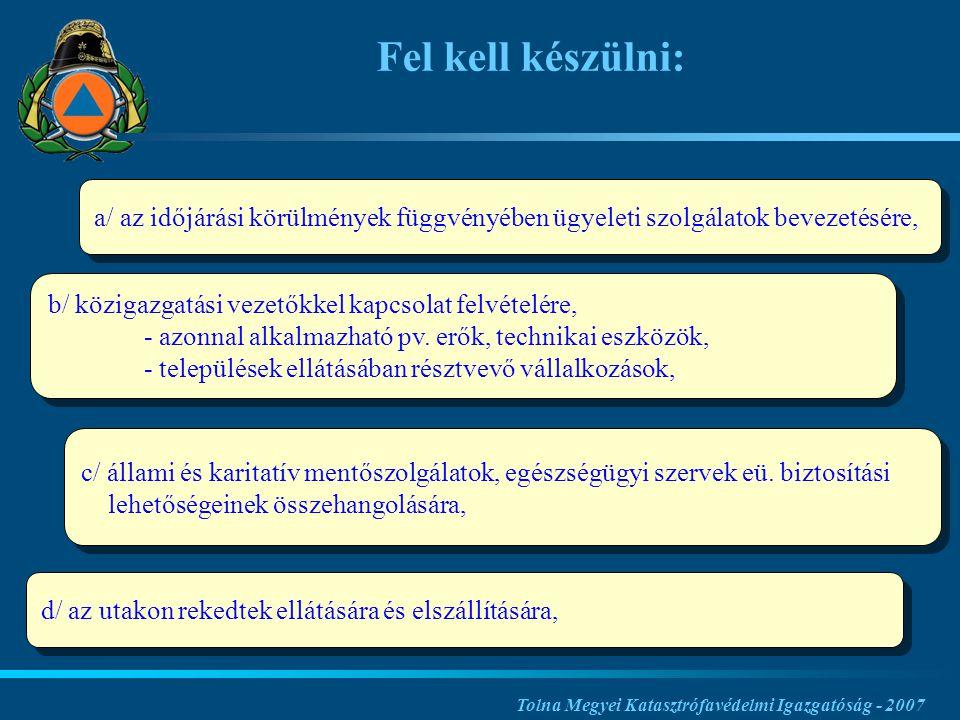 a/ az időjárási körülmények függvényében ügyeleti szolgálatok bevezetésére, Tolna Megyei Katasztrófavédelmi Igazgatóság - 2007 Fel kell készülni: b/ közigazgatási vezetőkkel kapcsolat felvételére, - azonnal alkalmazható pv.
