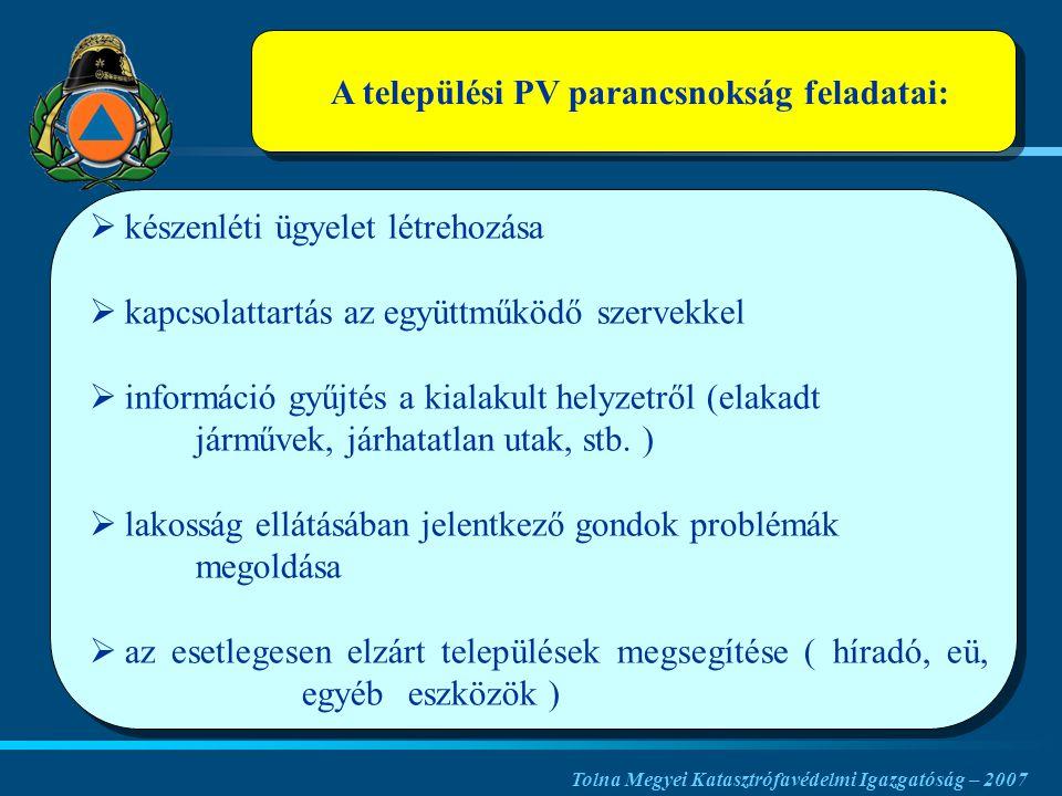 A települési PV parancsnokság feladatai:   készenléti ügyelet létrehozása   kapcsolattartás az együttműködő szervekkel   információ gyűjtés a kialakult helyzetről (elakadt járművek, járhatatlan utak, stb.