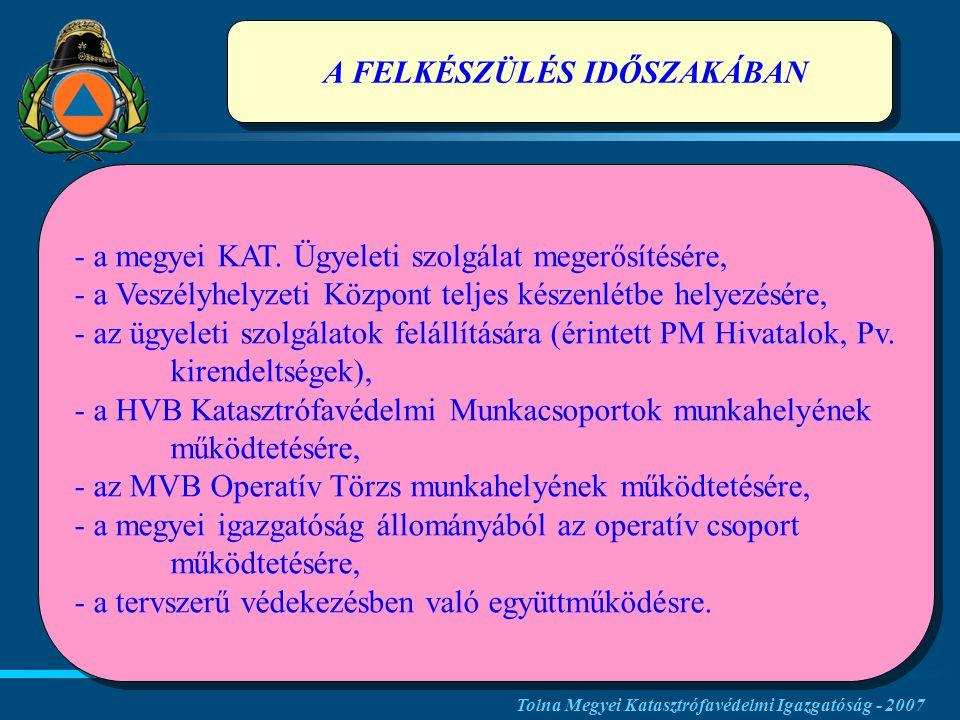 A FELKÉSZÜLÉS IDŐSZAKÁBAN - - a megyei KAT.