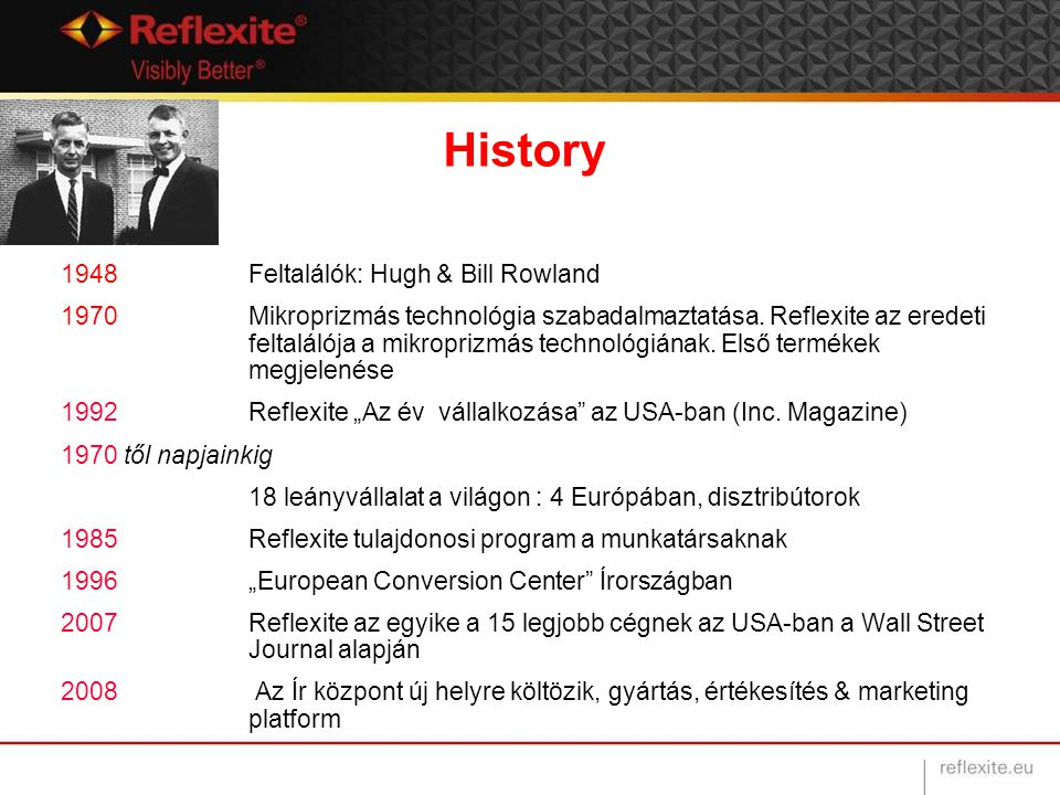 History 1948Feltalálók: Hugh & Bill Rowland 1970Mikroprizmás technológia szabadalmaztatása. Reflexite az eredeti feltalálója a mikroprizmás technológi