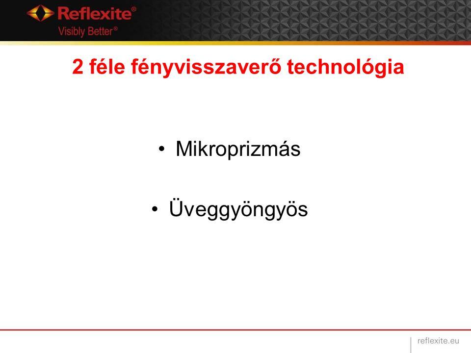 2 féle fényvisszaverő technológia Mikroprizmás Üveggyöngyös
