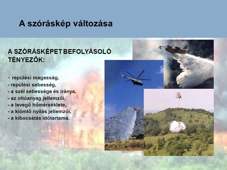 A SZÓRÁSKÉPET BEFOLYÁSOLÓ TÉNYEZŐK: - repülési magasság, - repülési sebesség, - a szél sebessége és iránya, - az oltóanyag jellemzői, - a levegő hőmér