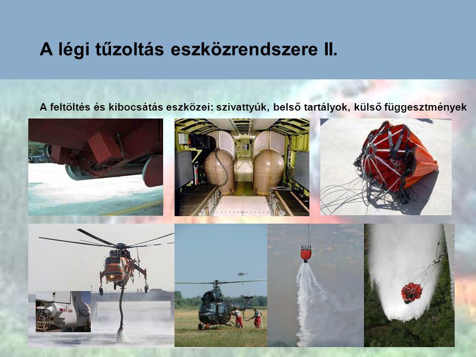 A légi tűzoltás eszközrendszere II. A feltöltés és kibocsátás eszközei: szivattyúk, belső tartályok, külső függesztmények