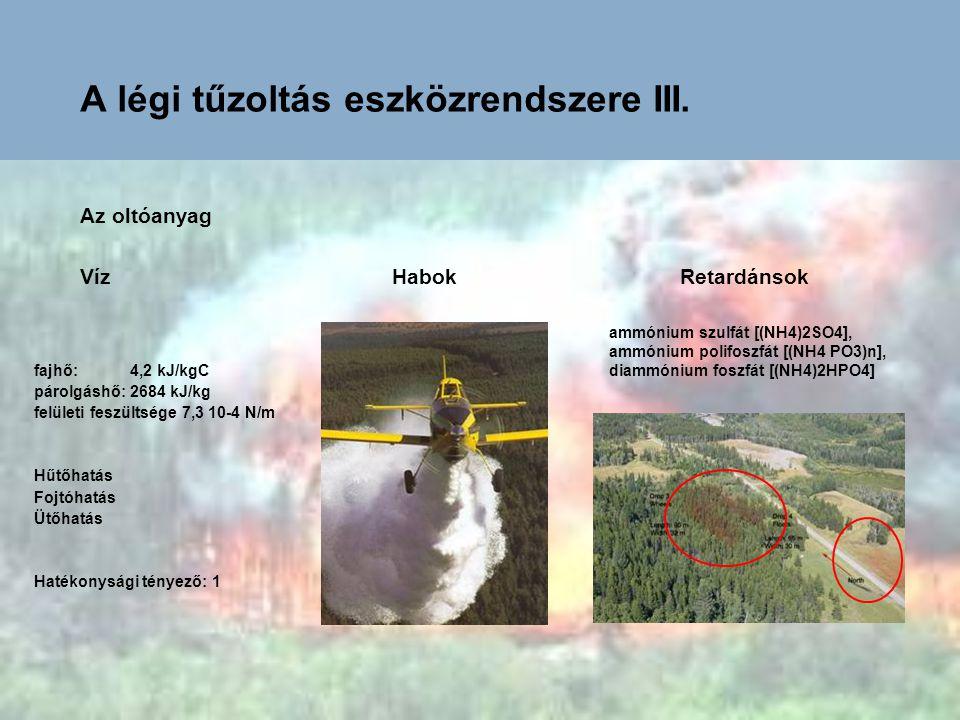 A légi tűzoltás eszközrendszere III. Az oltóanyag Víz Habok Retardánsok ammónium szulfát [(NH4)2SO4], ammónium polifoszfát [(NH4 PO3)n], diammónium fo