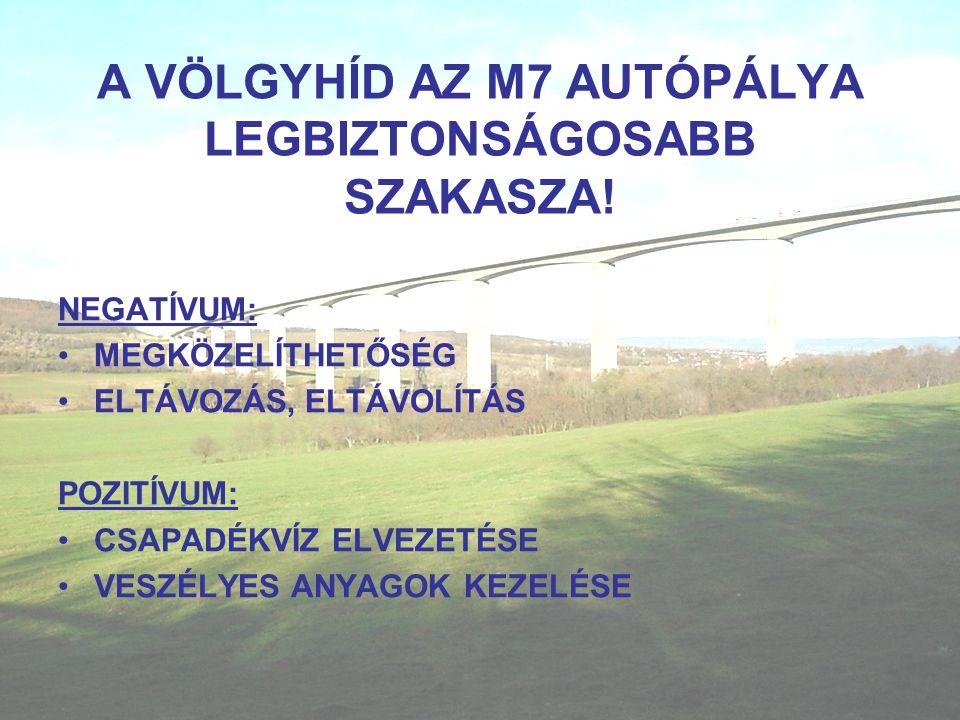 A VÖLGYHÍD AZ M7 AUTÓPÁLYA LEGBIZTONSÁGOSABB SZAKASZA.