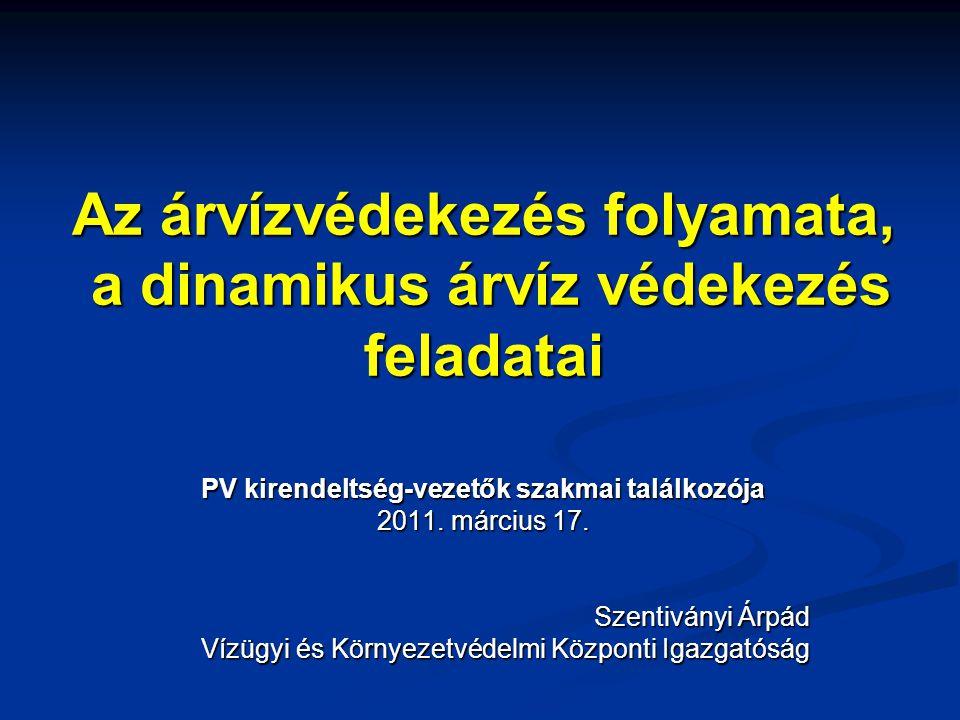 Az árvízvédekezés folyamata, a dinamikus árvíz védekezés feladatai PV kirendeltség-vezetők szakmai találkozója 2011. március 17. Szentiványi Árpád Víz