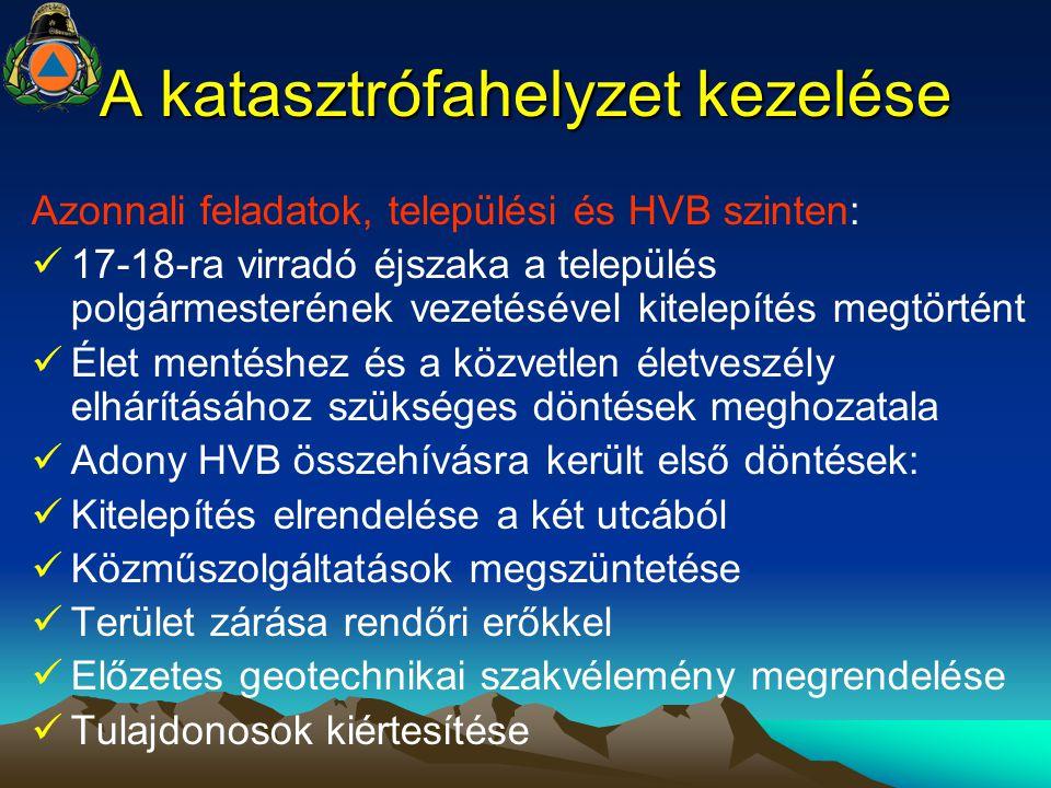 A katasztrófahelyzet kezelése Azonnali feladatok, települési és HVB szinten: 17-18-ra virradó éjszaka a település polgármesterének vezetésével kitelep
