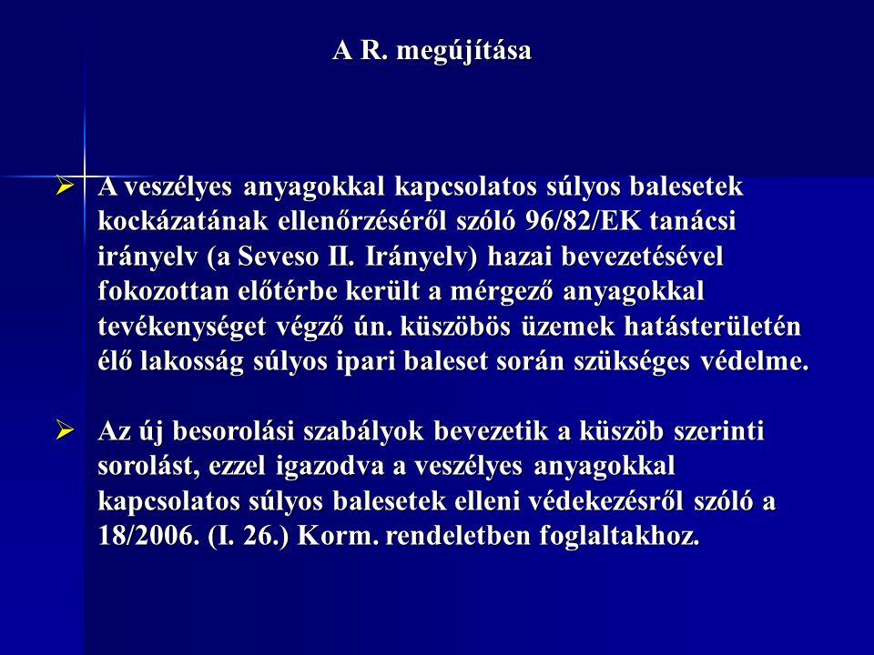 A R. megújítása  A veszélyes anyagokkal kapcsolatos súlyos balesetek kockázatának ellenőrzéséről szóló 96/82/EK tanácsi irányelv (a Seveso II. Iránye