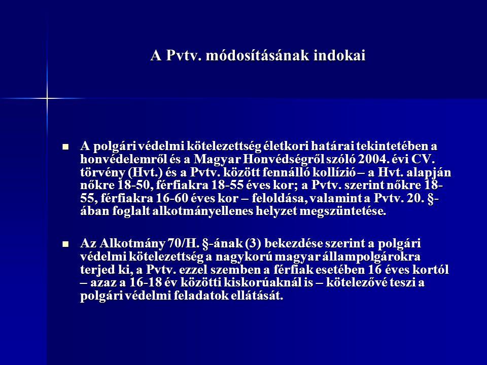 A Pvtv. módosításának indokai A polgári védelmi kötelezettség életkori határai tekintetében a honvédelemről és a Magyar Honvédségről szóló 2004. évi C