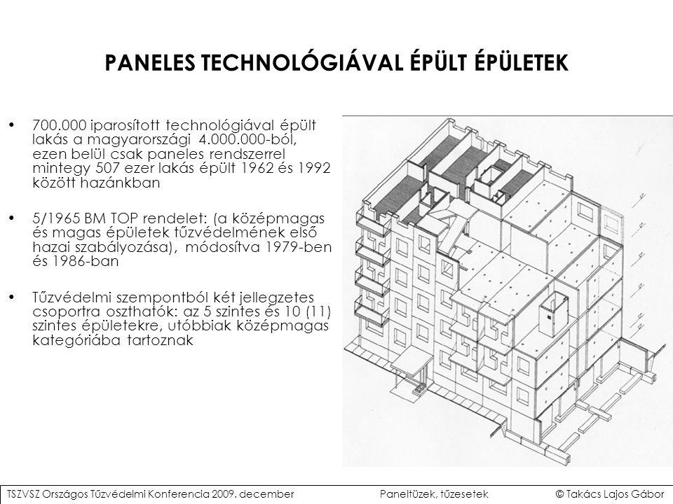 PANELES TECHNOLÓGIÁVAL ÉPÜLT ÉPÜLETEK 700.000 iparosított technológiával épült lakás a magyarországi 4.000.000-ból, ezen belül csak paneles rendszerrel mintegy 507 ezer lakás épült 1962 és 1992 között hazánkban 5/1965 BM TOP rendelet: (a középmagas és magas épületek tűzvédelmének első hazai szabályozása), módosítva 1979-ben és 1986-ban Tűzvédelmi szempontból két jellegzetes csoportra oszthatók: az 5 szintes és 10 (11) szintes épületekre, utóbbiak középmagas kategóriába tartoznak TSZVSZ Országos Tűzvédelmi Konferencia 2009.