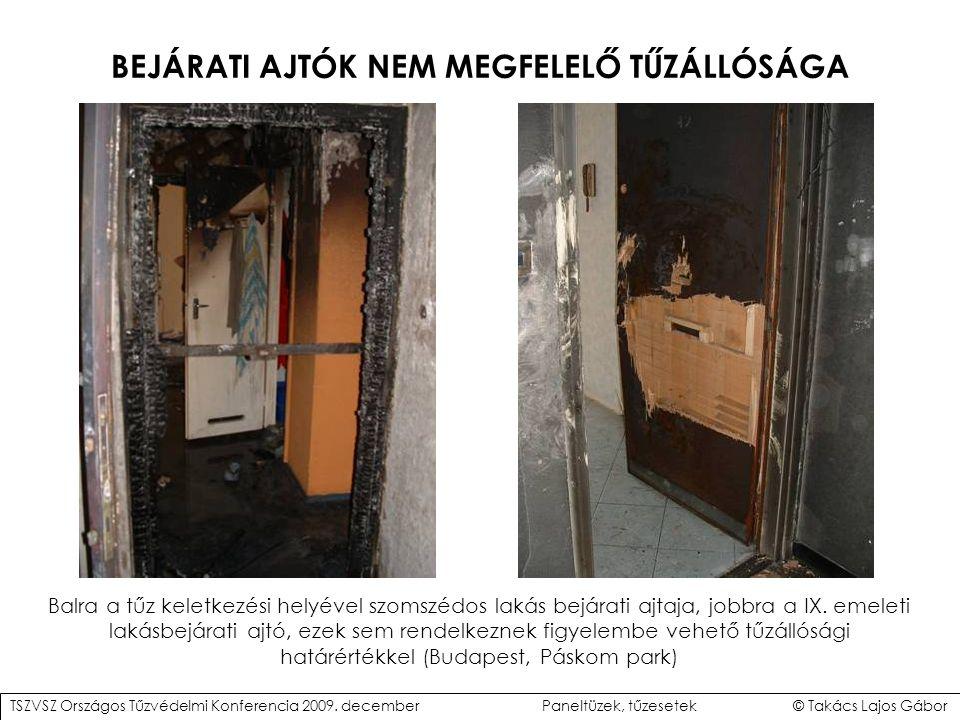 BEJÁRATI AJTÓK NEM MEGFELELŐ TŰZÁLLÓSÁGA Balra a tűz keletkezési helyével szomszédos lakás bejárati ajtaja, jobbra a IX.