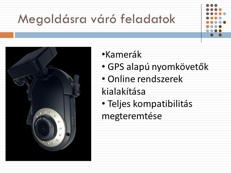 Megoldásra váró feladatok Kamerák GPS alapú nyomkövetők Online rendszerek kialakítása Teljes kompatibilitás megteremtése