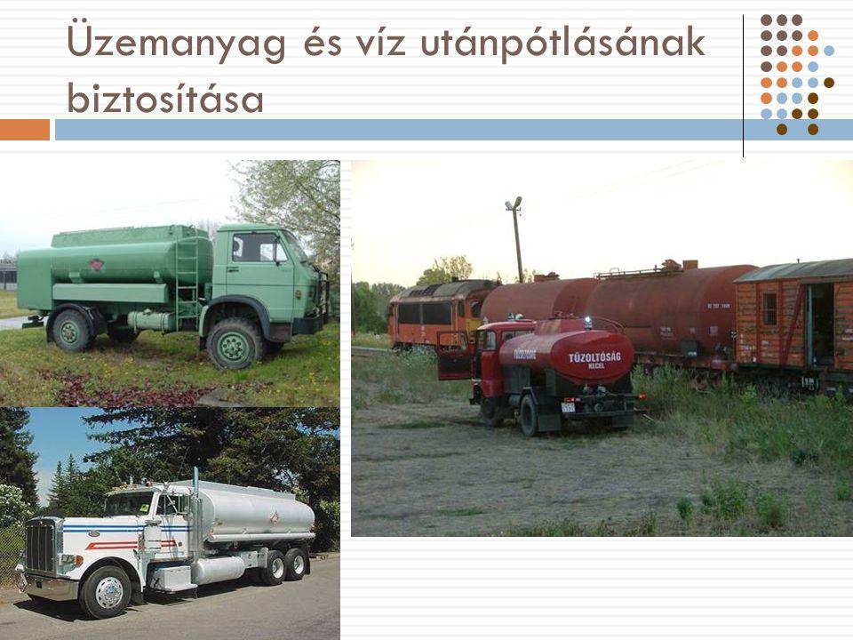Üzemanyag és víz utánpótlásának biztosítása