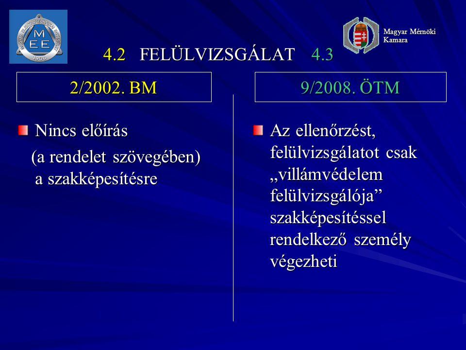 """4.2 FELÜLVIZSGÁLAT 4.3 Nincs előírás (a rendelet szövegében) a szakképesítésre (a rendelet szövegében) a szakképesítésre Az ellenőrzést, felülvizsgálatot csak """"villámvédelem felülvizsgálója szakképesítéssel rendelkező személy végezheti 2/2002."""