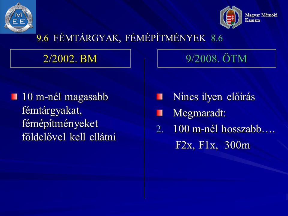 9.6 FÉMTÁRGYAK, FÉMÉPÍTMÉNYEK 8.6 10 m-nél magasabb fémtárgyakat, fémépítményeket földelővel kell ellátni Nincs ilyen előírás Megmaradt: 2.