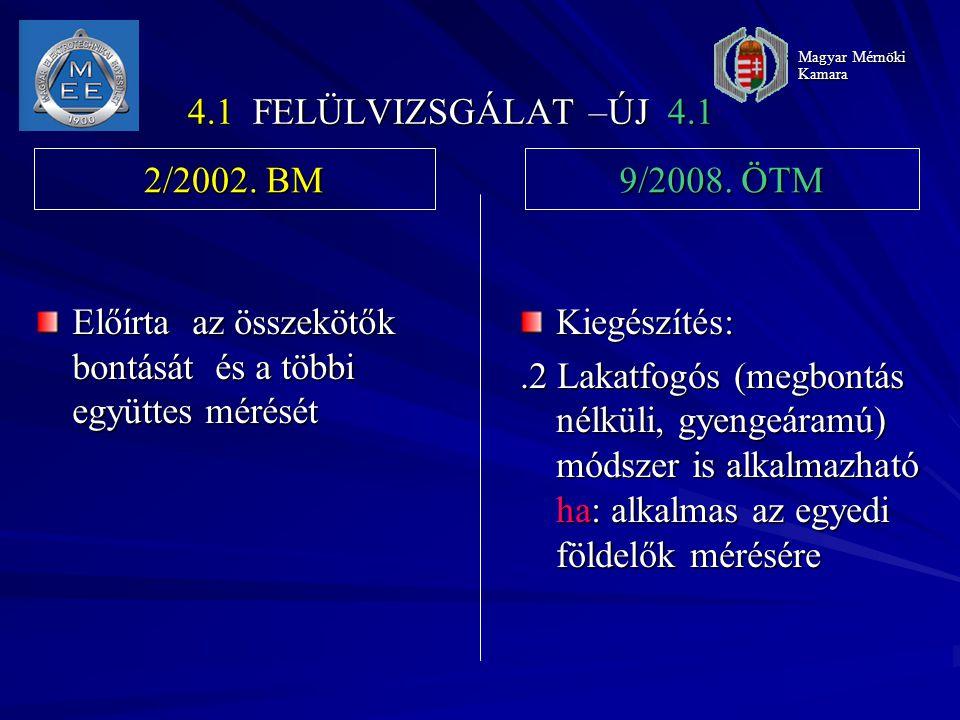 4.1 FELÜLVIZSGÁLAT –ÚJ 4.1 Előírta az összekötők bontását és a többi együttes mérését Kiegészítés:.2 Lakatfogós (megbontás nélküli, gyengeáramú) módszer is alkalmazható ha: alkalmas az egyedi földelők mérésére 2/2002.