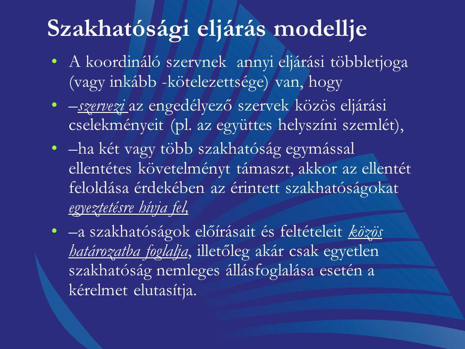 Szakhatósági eljárás modellje a koordináló szerv, másfelől a szakhatóságok között nincs alá- fölérendeltségi viszony, a hatóság és a szakhatóság szerv