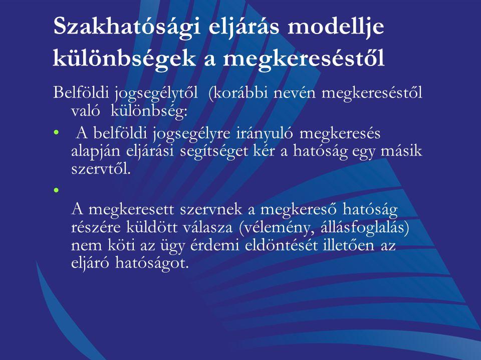 Szakhatósági eljárás modellje Az ügy eldöntése, a határozat elkészítése és az érintettekkel való közlése (természetesen a szakhatósági állásfoglalás f