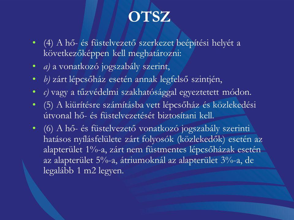 OTSZ () Nem kell hő- és füstelvezetőt létesíteni az 50 MJ/m2-nél kisebb időleges tűzterhelésű helyiségekben és az ömlesztett tárolású mezőgazdasági te