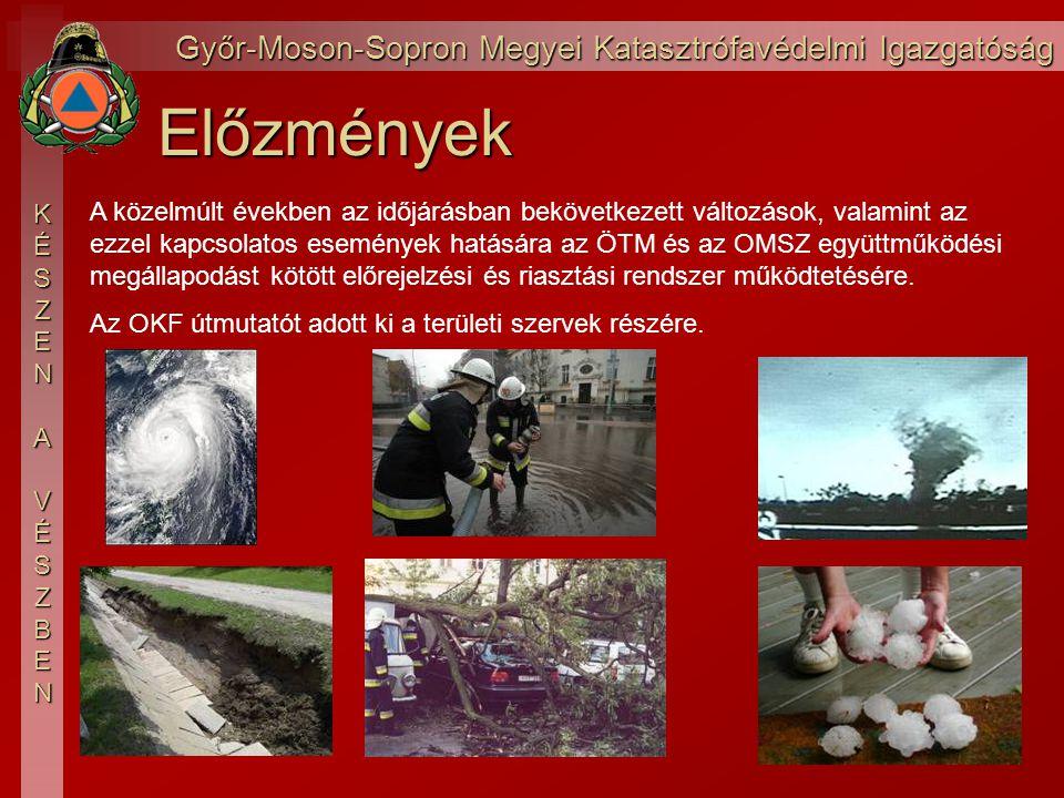 Győr-Moson-Sopron Megyei Katasztrófavédelmi Igazgatóság KÉSZEN AVÉSZBENElőzmények A közelmúlt években az időjárásban bekövetkezett változások, valamint az ezzel kapcsolatos események hatására az ÖTM és az OMSZ együttműködési megállapodást kötött előrejelzési és riasztási rendszer működtetésére.