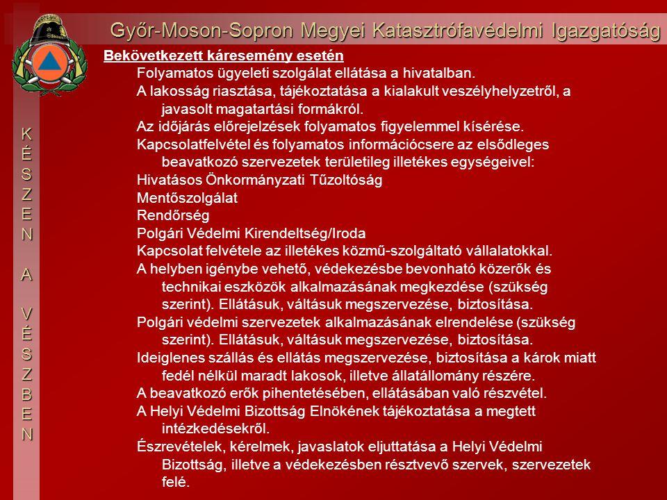 Győr-Moson-Sopron Megyei Katasztrófavédelmi Igazgatóság KÉSZEN AVÉSZBEN Megelőző időszakban, folyamatosan Polgármesteri felkészítésen, fórumokon, falunapokon
