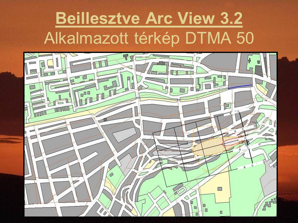 Beillesztve Arc View 3.2 Alkalmazott térkép DTMA 50