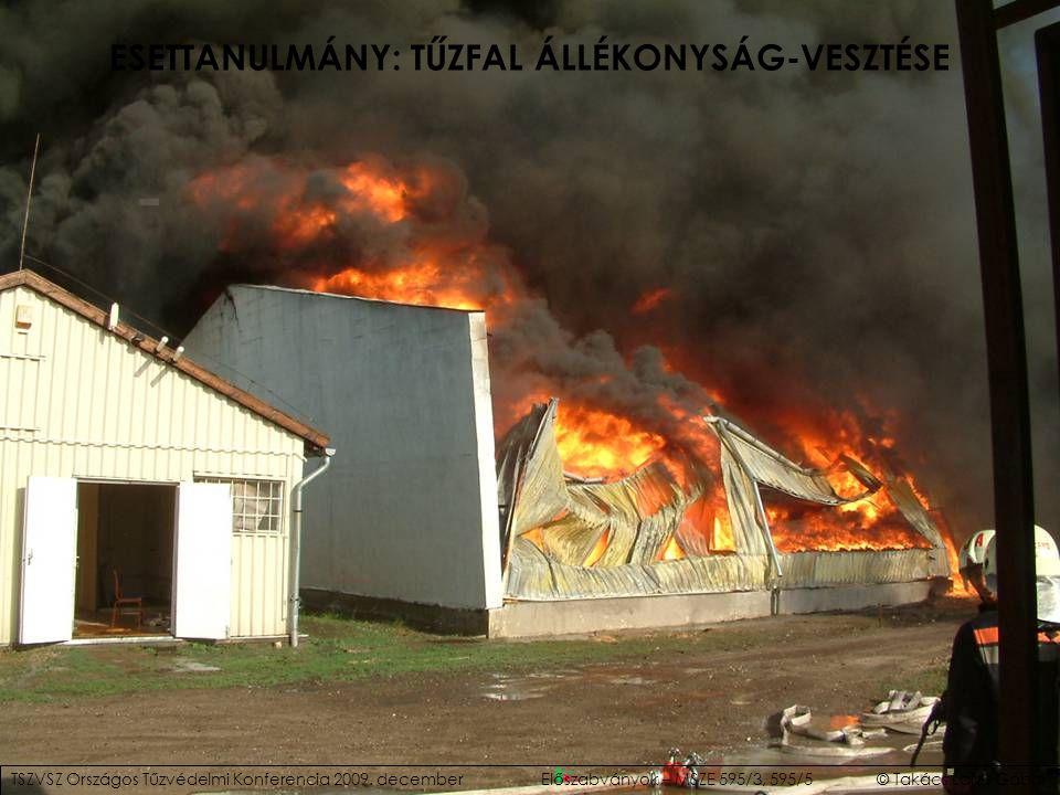 ESETTANULMÁNY: TŰZFAL ÁLLÉKONYSÁG-VESZTÉSE TSZVSZ Országos Tűzvédelmi Konferencia 2009. decemberElőszabványok – MSZE 595/3, 595/5 © Takács Lajos Gábor