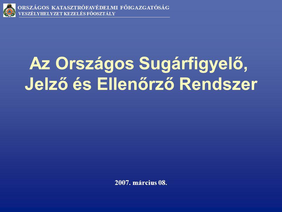 ORSZÁGOS KATASZTRÓFAVÉDELMI FŐIGAZGATÓSÁG VESZÉLYHELYZET KEZELÉS FŐOSZTÁLY Az Országos Sugárfigyelő, Jelző és Ellenőrző Rendszer 2007.